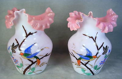 (2) Antique Victorian Cased Glass Hand Enameled Ruffled & Crimped Cabinet Vases