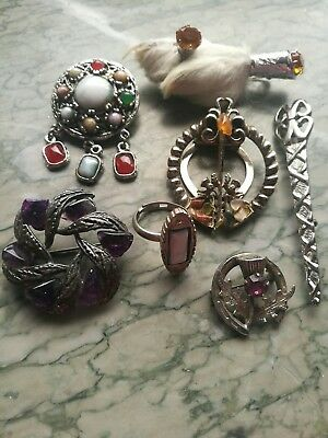 Job Lot Of Vintage Scottish Costume Jewellery