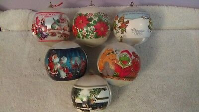 Christmas ornaments lot of 6 silk with wrapped designs muppets and 1980