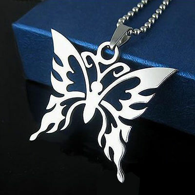 Fashion Butterfly Unisex Stainless Steel Pendant Necklace 50cm Beaded Chain