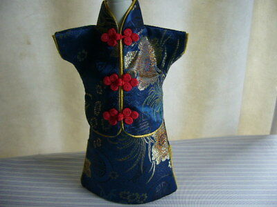 Wine Bottle Cover Chinese Style Cheongsam Qipao Silky Blue Dress Two Pieces New