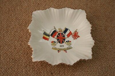 "Original Ww1 Ceramic Ashtray / Dish Dated 1914 "" For Freedom Cause """