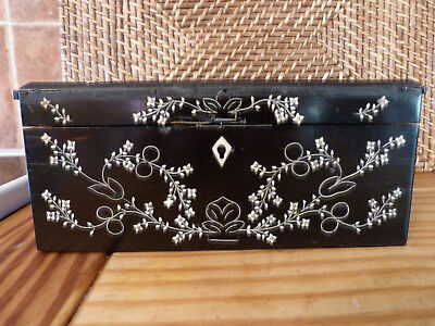 Georgian Ebony Box And Matching Tray With Very Decorative White Inlay,very Solid