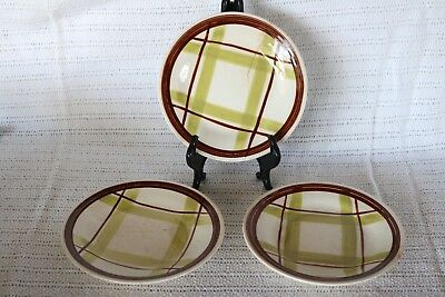 """Edwin Knowles - PLAID - V-2214 - Made in U.S.A. 6 1/8"""" Bread & Butter Plates (3)"""