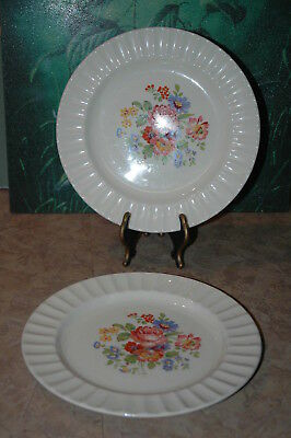 """Edwin M Knowles - Floral Design - Fluted Rim - 9 1/4"""" Dinner Plates (2)"""
