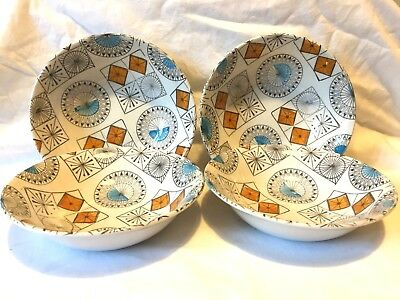 Vintage Broadhurst Pottery Compass Cereal Bowls x 4. 1970s?