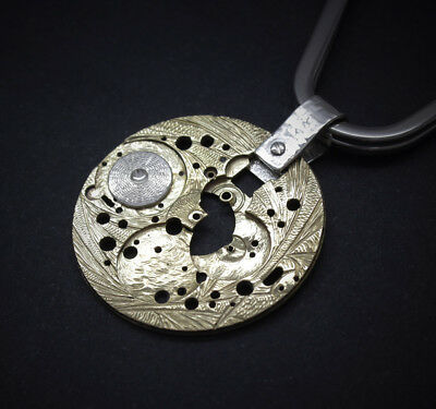 Handmade Key holder key chain vintage engraved carved watch movement w/silver