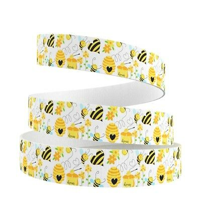 Grosgrain Ribbon Bees on White 25mm (1m, 2m or 5m)
