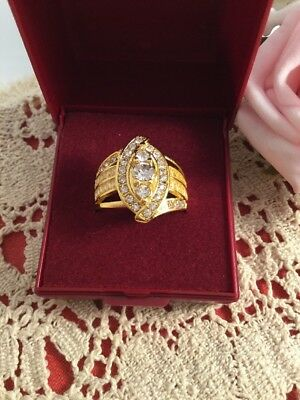Vintage Jewellery Gold Ring White Sapphires Retro 1980s Dress Jewelry size 8 Q