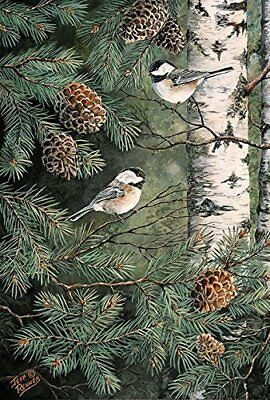 Toland Home Garden 1010429 Pinecone Chickadees (House-Large-28x40-Inch)