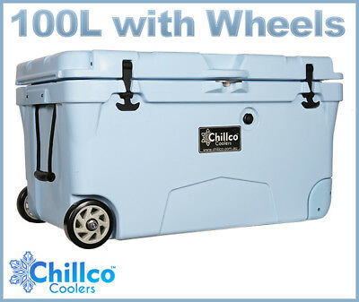 100L With Wheels Chillco Ice Box Cooler Chilly Bin Esky - Superior Ice Retention