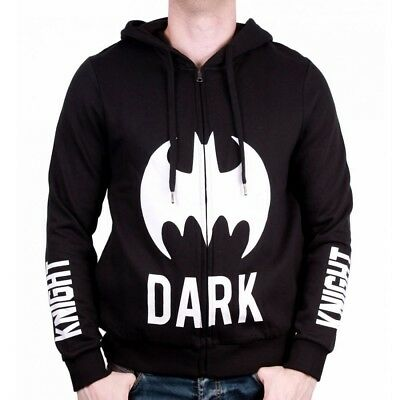 OFFICIAL DC Comics Batman Logo Dark Knight Black Mens Zipped Hoodie Jumper (NEW)