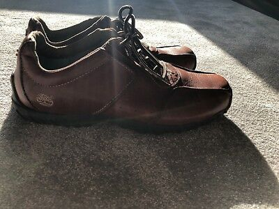 Mens Brown Tan Leather Timberland Shoes Size 9M UK 8.5 Excellent Condition