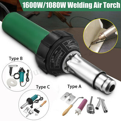 1600W/1080W AC220V Hot Air Plastic Welding Torch Gun Welder Kit + Nozzles Roller