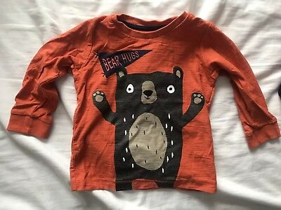Matalan Long Sleeve Orange Bear Tshirt 12-18M