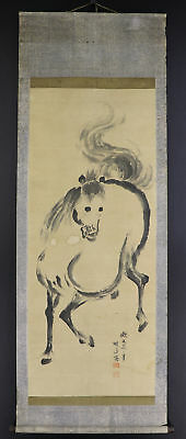 "JAPANESE HANGING SCROLL ART Painting ""Horse"" Asian antique  #E4887"