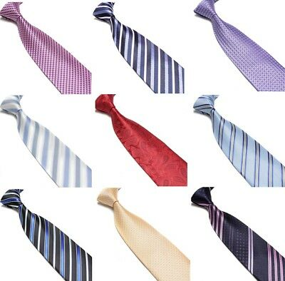 Mens Wedding Business Formal Ties Striped Woven Patterned  Silk Tie Necktie 9cm