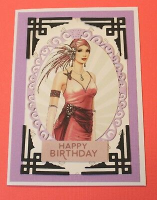 White Happy Birthday Handmade Card DIY Card Making Kit Art Deco Lady