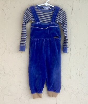 Vintage PIERRE CARDIN BOUTIQUE Boys Size 3T  VELOR Overall/Romper & Shirt