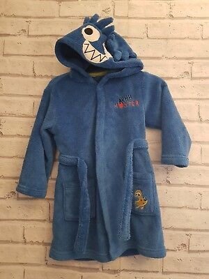 Baby Boys Dressing Gown Age 18- 23months 1.5- 2 Years Blue Monster