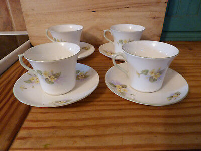 4 X Shelley, Yellow Primrose Cups And Saucers, 1945-1966, All Perfect Condition