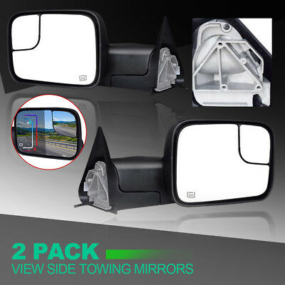 Tow Mirror Power Heated Textured Black Pair Set for Dodge Ram Pickup New
