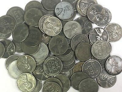 1943-P~D~S  Lincoln **steel** Wheat Cent Roll (50 Coins)