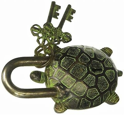 Turtle Tortoise Door Lock Handmade Vintage Antique Style Brass Padlock & Keys