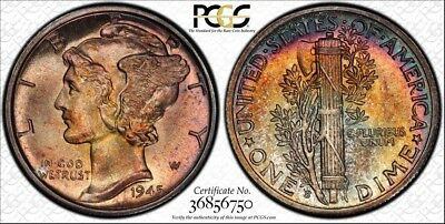 1945-S Mercury Dime ~ PCGS MS66+ PLUS ~ Beautifully Toned w/ TrueView!