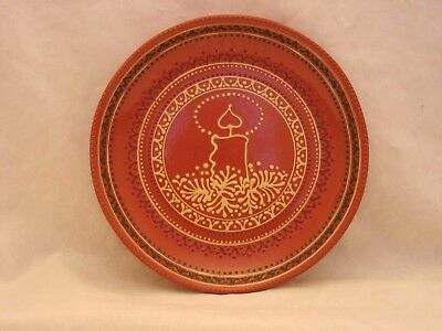 """Old-Time """"Candle"""" design Christmas Plate: handmade Greenfield Village redware."""