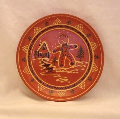 """Old-Time """"Gingerbread"""" Christmas Plate: handmade Greenfield Village redware."""