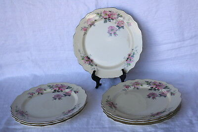 "W S George William Shaw Pottery Co BLOSSOMS 9 3/8"" Luncheon Plates (7)"