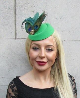 Emerald Green Gold Peacock Feather Pillbox Hat Hair Clip Fascinator Races 6489