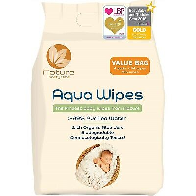 Aqua Wipes Vegan Friendly Baby Wipe 99% Purified Water NHS Approved for NewBorns