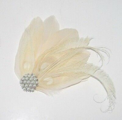 Cream Ivory Silver Peacock Feather Fascinator Hair Clip 1920s Bridal Gatsby 6491