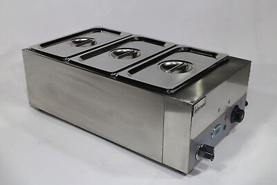 DIGITAL Bain Marie 3X GN 1/3 Pans, Lids & Tap Wet Operation