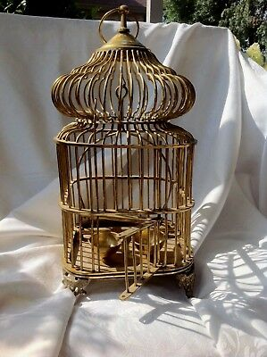 Vintage Solid Brass Birdcage - Hanging, Tabletop, Made In India, Taj Mahal Style