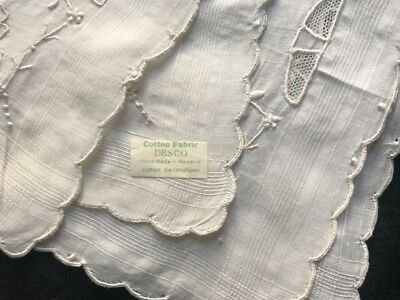 "DESCO made in Madeira Vintage Bridal Hand Embroidered  Cotton Handkerchief 12""SQ"