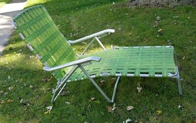 Vintage Aluminum Chaise Lounge Chair Lawnchair Patio Furniture