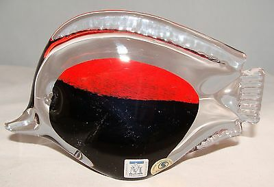 MARCOLIN ART CRYSTAL SARDINIA RED BLACK FISH Hand Made In ITALY Signed With SN