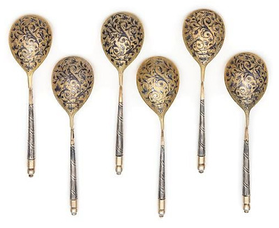 1846 Six Imperial Russian Niello and Silver Gilt Teaspoons Spoon