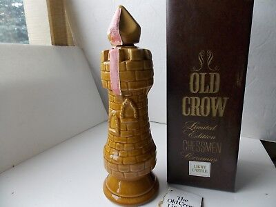 """OLD CROW Light Castle Rook Chessman Decanter Bourbon Whiskey 12.5"""" Tall(empty)"""