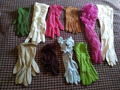 Vintage Gloves Job Lot Of Mixed Gloves Nylon Cotton Leather 40s 50s