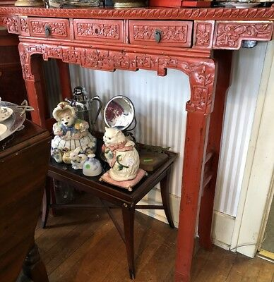 Antique Chinese China Alter Mantle Buddist Red Old Gold Trim