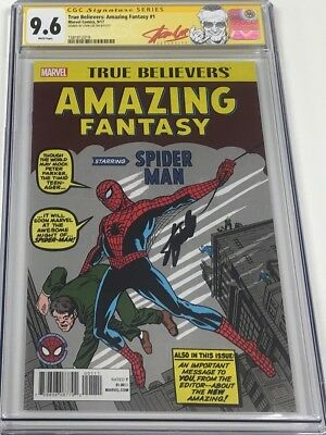 Marvel True Believers Amazing Fantasy #15 Signed Stan Lee CGC 9.6 SS Red Label