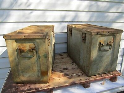 Pair (2) Old Rusty Large Metal Ammunition Ammo Box Can Military Green