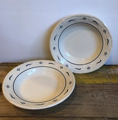 "Longaberger Pottery Heritage Blue 8"" Salad Pasta Bowl Set Of 2 USA Woven Soup"