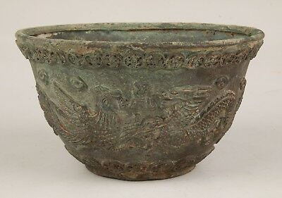 Antique Chinese Bronze Statue Bowl Old Relief Dragon Sacred Collection