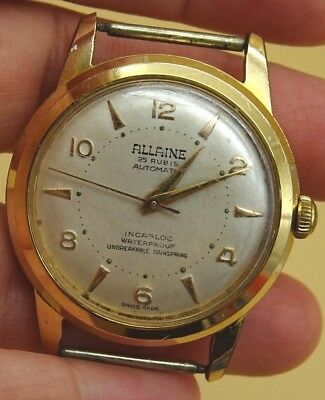 Vintage Mens Watch Allaine 25 Rubis Incabloc Waterproof Swiss Made Gold Tone