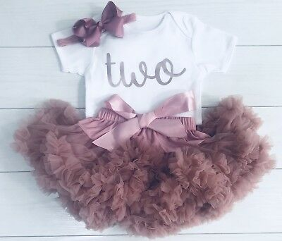 Luxury Girls 2nd Second Birthday Outfit Tutu Skirt & Top Set Dusky Rose Gold